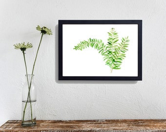 Fern art print, Fern watercolor print, minimalist art, botanical print, plants art, green, zen, topic, fern art,fresh home decor