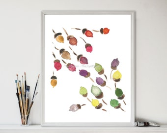 acorns print/ acorns colors of fall art Print/ print of watercolor/ autumn hues/ woodland art print/ colorful art/ fall colors/ modern art