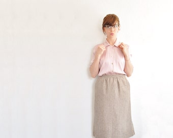 woven wool tweed skirt . handsome high waist . light tan brown .small.medium .sale s a l e
