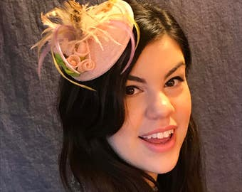 Rosebuds and Feathers/Pink Sinamay Fascinator/Pink Rosebud Hat/Pink Confection/Lady's Pink Fascinator/Pink Feathered Hat/Sinamay Rosebuds