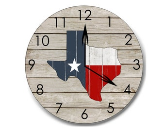 Texas clock, wood Texas clock, home decor, Texas decor, rustic wall art, rustic clock, home state clock, Texas flag clock, farmhouse decor
