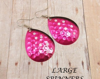 Earrings - LARGE Spinners - Fishing Lures - Spoons - Hot Pink and Black with White Polka Dots - Silver Back - Hammered - Fuchsia