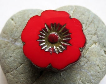 NEW HAWAIIAN FLOWERS  . Czech Pressed Glass Flower Beads . 22 mm (1 bead)