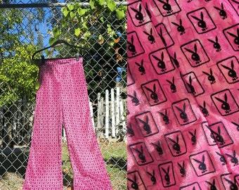 Playboy Pants / Sheer Hot Pink Pants / High Waisted Bells Sz S
