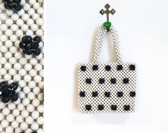 Vintage 1960s Black and White Polka Dot Italian Beaded Handbag