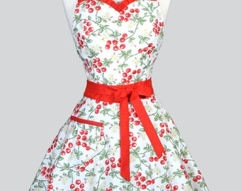 Sweetheart 50s Womens Apron - Red and White Cherries Jubilee Retro Cute Vintage Style Pin Up Old Fashioned Kitchen Apron with Fitted Bodice