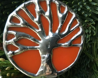 Orange and silver stained glass oak tree, tree of life, toomer's corner, Auburn pendant