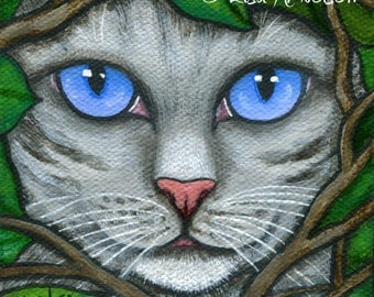 Silver Gray Tabby Cat in Garden Vines Original Fine Art Acrylic Painting on Canvas