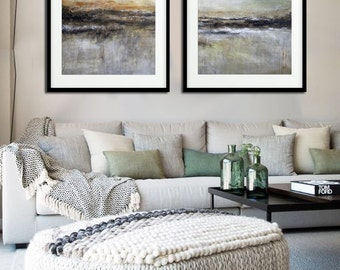 Two Piece Abstract Large Print Modern Diptych Painting 16x20 Set Of 2 Contemporary Landscape Fine Art Prints Wall Decor earth tones brown