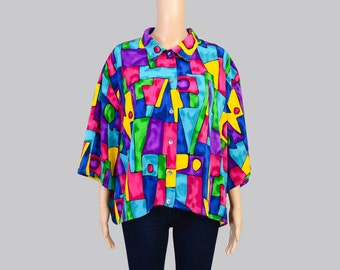 Vintage 80s Geometric Blouse   Stained Glass   Colorful Artsy Button Down Shirt   Oversize Collared Blouse   Cropped Top   size Large L XL