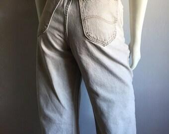 Vintage Women's 80's Tan Lee Jeans, High Waisted, Tapered Leg, Denim (L)