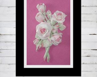 Cottage Stye Roses, Rose Sculpture of framed Miniature Roses, OOAK Sculpture, Cottage Style, Signed by Artist, CreatingCottage