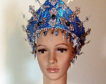 Blue and Silver Handmade Crown Diadem Christmas New Year Mardi Gras Birthday Halloween Cosplay Ready to Ship
