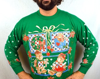 Vintage 80s 90s Teddy Bear XMAS Christmas Tree Puffy Glitter Sweatshirt