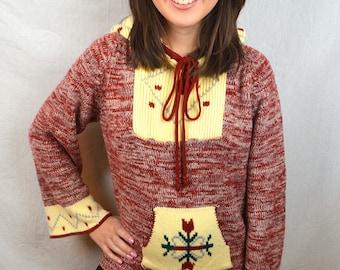 Vintage 1970s 70s Acrylic Geometric Southwest Hooded Hoodie Knit Sweater