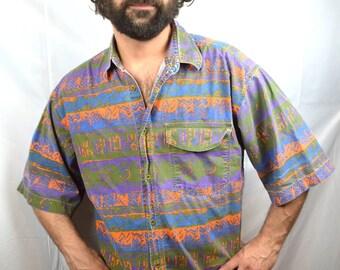Vintage Introspect 1990s 90s Purple Orange Surfer Button Up Geometric Shirt