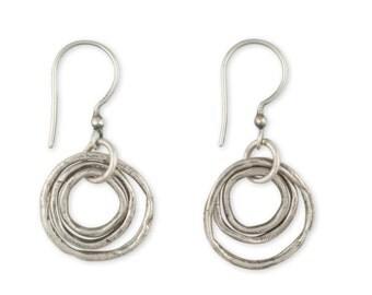 Silver Hoop Earrings - Artisan Earrings - Oxidized Silver Earrings - Sterling Drop Earrings - Joy Earrings (ES/EB-CLMS)