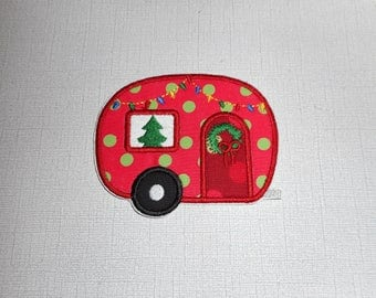 Free Shipping Ready to Ship Christmas Camper Machine Embroidery iron on applique