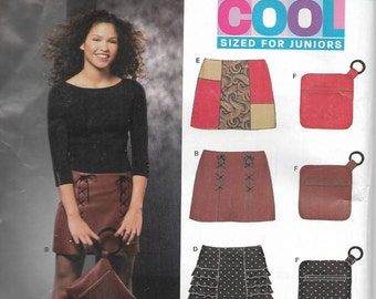 Uncut, Jr Misses Size 3/4 to 13/14, Sewing pattern, New Look 6308, Teen, Skirt, Mini, Ruffles, Patchwork, Belt, Bag, Purse, Handbag, Lace