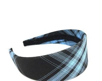 Black and Blue Plaid Headband - Choose Width - Preppy Wide Headband for Girls & Adults, Blair Waldorf Inspired