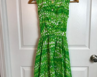 Vintage 1960s CIRETTE California Dress - Mod Green Print - Ties At Waist - Sleeveless Button Front - Spring Summer Dress - Size SMall Medium