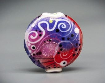 Michou Pascale Anderson - Afterglow-  Modern Glass Art - Lentil shaped lampwork bead including dichroic