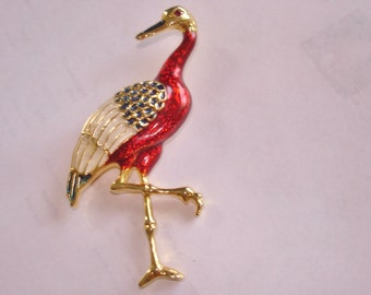 "Bird Ruby Gold Tone 2.5"" x 1.5""  Brooch"