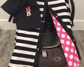 Minnie mouse car seat canopy , car seat cover , carseat canopy , minnie mouse , mickey mouse , disney