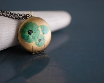 Flower Necklace, Blue Poppy Flower Locket, Smooth Antiqued Long Chain Necklace, Poppy Pendant, Blue Jewellery, Long Blue Turquoise Poppy