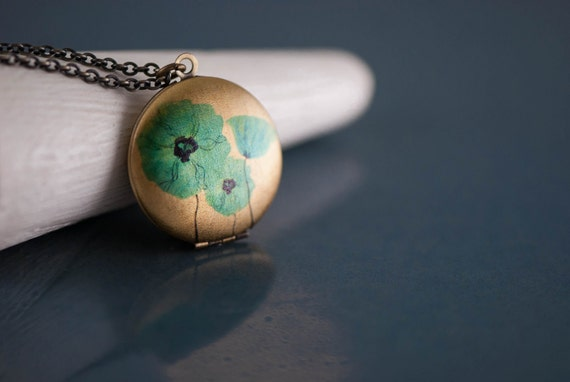 Long Flower Necklace, Blue Poppy Flower Locket, Antiqued Long Chain Necklace, Turquoise Pendant, Turquoise Jewelry, Picture Photo Jewellery