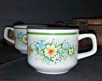 Lenox Temper Ware Floral Fantasy Cups Set of 2 / 1970s Lenox Temperware Yellow Blue White Flowers Set of 2 Flat Cups