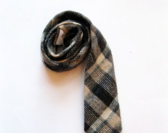 REDUCED - Plaid Wool Necktie, Cezanne Plaid Necktie, Brown Plaid Necktie, Vintage Wool Necktie, Tie, by mailordervintage on etsy