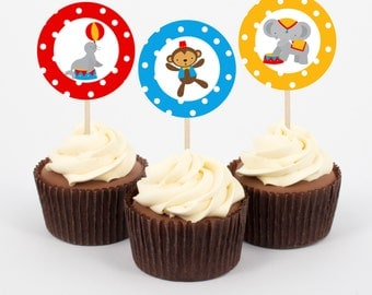 Circus Party Cupcake Toppers and cupcake wrappers, clown, carnival party decorations