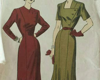 Vintage 1940s Pattern Fit and Flare Dress Button Front Bodice Wiggle Dress Advance 5076 Bust 32