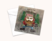 Lumberjack Greeting Card, Woodland Card, Cards for Men, Peace and Love Card, Stationary for Friend, Plant A Tree, One Tree Planted Donation
