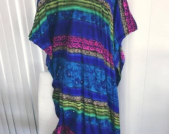 Fabulous Vintage 1960's Tropical Caftan -- One Size Fits Most