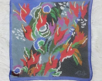 Lovely Vintage LouLou Sheer Small Square Scarf with Abstract Flowers