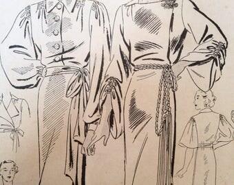 Vintage 30s Negligee Dress Pattern 40 bust Butterick 6596 plus size large dramatic 34 waist
