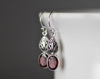 Garnet Earrings - Bali Silver Earrings - Garnet Jewelry - January Birthstone - Bali Silver Jewelry - Silver Charms - Silver Filigree - Gift