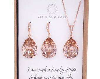Carrie - Vintage Rose Pink Rose Gold Wedding Bridal Swarovski Crystal Teardrop Earrings, Bridesmaid Earrings Wedding Brides Earrings