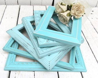 Aqua Beach Frames, Farmhouse Decor, Old Frames, Ornate Frames, Chic Cottage Decor, Shabby Wall Decor, Hand Painted, Distressed Frames
