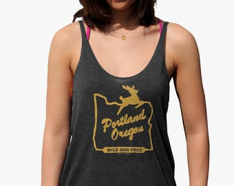 Wild and Free| Portland Oregon| Women's Flowy tanktop| Art by MATLEY| Relax fit| Gift for her| Travel tees| Small-XXL| Summer top| Hometown
