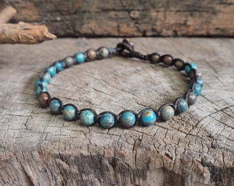 Blue Sky Jasper Beads Anklet, simple unisex anklet, 6mm beads