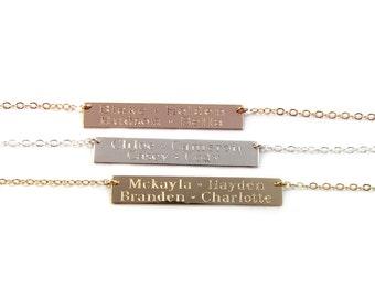 Kids Names Gold Bar Necklace, Engraved Bar Necklace, Multi Name Bar Necklace, in14KT Gold Filled, Rose Gold Filled or Sterling Silver