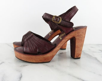 Vintage 70s Wood Platform Sandals Mary Jane Peep Toe Ankle Strap Leather Heels