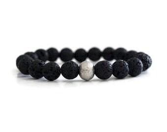 Lava Rock Bracelet / Tribal Jewelry / Bohemian Jewelry / Yoga Bracelet / Black Bracelet / Black and Silver