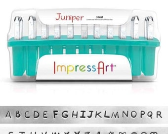 Juniper UPPERCASE Letter Alphabet Metal Stamps font 3mm 1/8 inch ImpressArt Hand Stamping Jewelry Tools 7 Bonus Stamps GIFT Sterling Silver