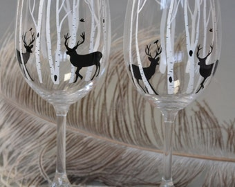 SALE PRICE Hand painted Wine glasses Set of 2 Deers and Birch trees Black and white design Personalized Gift