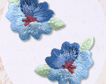 Blue Flower Patch - Flower Embroidered Iron On Patch, Botanical, Japanese Kawaii Floral Iron on Applique, Cute Embroidery Applique, W311