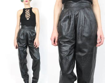 80s Black Leather High Waist Pants Minimalist Leather Trousers Paneled Leather Pants Quilted Waistband Pockets Leather Biker Pants XXS E449